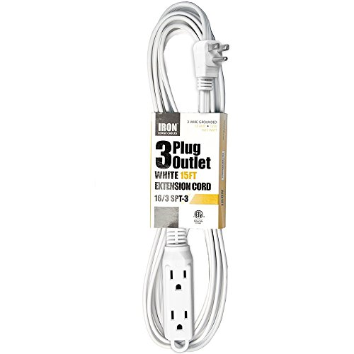 15 Ft Extension Cord with 3 Electrical Power Outlet - 16/3 Durable White Cable - Ge White Extension Cord