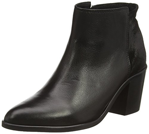 PIECES Psumiko Leather Boot Milenium Black - Botas de cuero para mujer negro - negro
