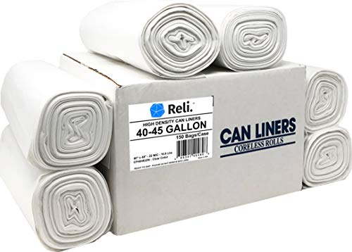 Can Density Clear Liners Trash - Reli. Trash Bags, 40-45 Gallon (150 Count) (Clear) - Premium Thickness - Easy Grab Rolls - Can Liners, Garbage Bags with 40 Gallon (40 Gal) to 45 Gallon (45 Gal) Capacity