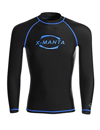 DIVE & SAIL Rash Guard Men Fast Dry Long Sleeve Swim Shirt UPF 50 Protection Sun Shirt for Surfista (XXL, Black)
