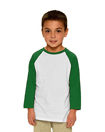(Monag Unisex Toddler 3/4 Sleeve Raglan Tee 2T White/Kelly Green)