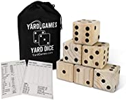 "Giant 3.5"" Wooden Yard Dice with Laminated Yardzee and Farkle Scoresheets and Durable Carrying"