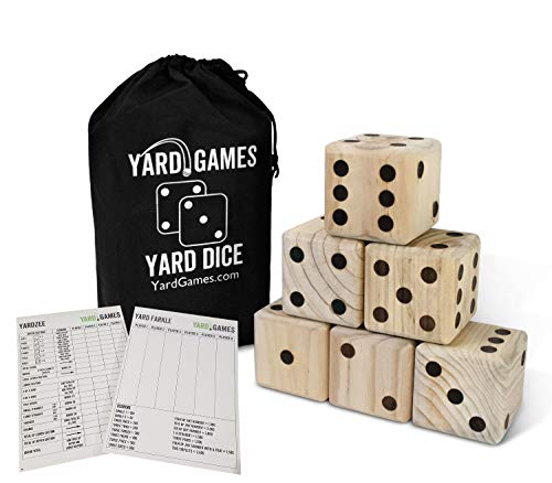 - Giant Wooden Yard Dice with Laminated Yardzee and Farkle Scoresheets