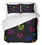 Emvency 3 Piece Duvet Cover Set Brushed Microfiber Fabric Breathable Funny Childish with Dogs Patter Creative Original Animals Face French Bulldog Bedding Set with 2 Pillow Covers Full/Queen Size