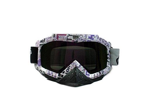 CRG Sports Motocross ATV Dirt Bike Off Road Racing Goggles T815-25-1A T815-25-1A - Parent (Multi-color lens purple letter frame)