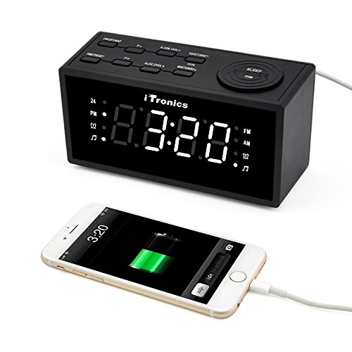 upgraded version itronics led dual alarm clock radio with usb charging digital am fm radio. Black Bedroom Furniture Sets. Home Design Ideas