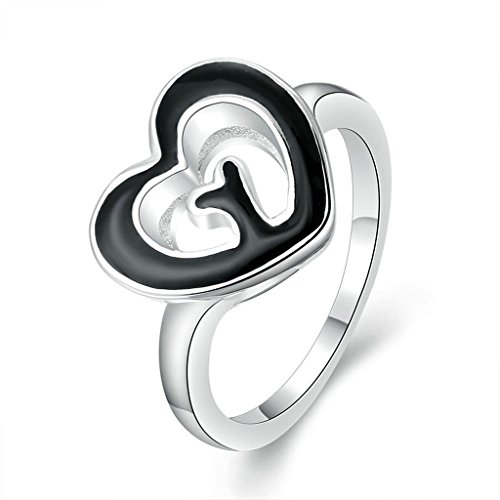 - Epinki Womens Silver Plated Rings Black Oil Drip Romantic Hearts 13Mm Width Size 8 Ring-Free Engraving