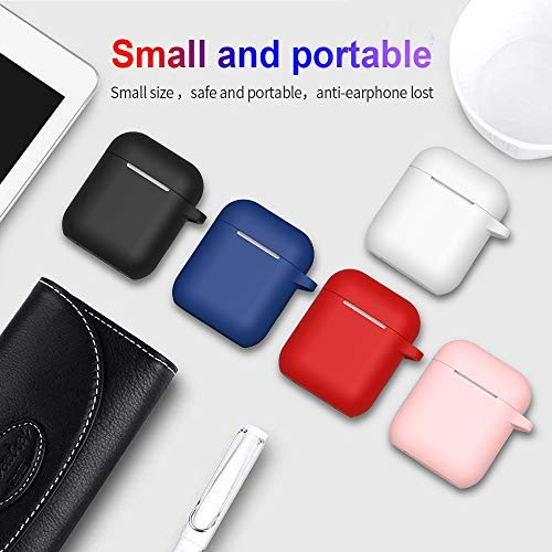 AirPods Case, Full Protective Silicone AirPods Accessories Cover Compatible with Apple AirPods 1&2 Wireless and Wired Charging Case(Front LED Visible),Black
