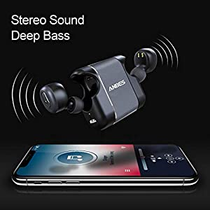 Wireless Earbuds, ANBES D41 Bluetooth 5.0 True Wireless Earbuds 15H Playtime 3D Stereo Bass Sound, Easy-pair Mini Sweat-proof Bluetooth Headphones with Charging Case, Hands-free Calls and Built-in Mic from ANBES