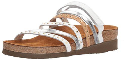 NAOT Women's Prescott Slide Sandal, White Lthr/Silver Mirror Lthr/Cork Lthr, 41 M EU (10 US)