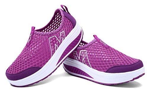 plataforma deporte del NEWZCERS de calza de resbalón los morado la plataforma en la mujeres El las la acoplamiento de zapatos del resbalón de zapatilla wIqr8BfI