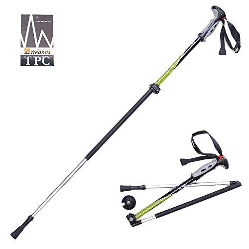 Weanas® 1pc Folding Carbon Fiber Trekking Poles, Aluminum Rubber, Alpenstock, Light Weight, Collapsible Adjustable, For Climbing Hiking Travel Backpacking Walking (Black/Green)