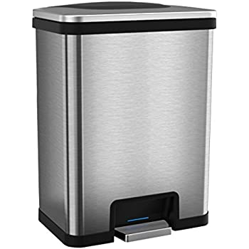 halo 13 gallon automatic step trash can sensor activated stainless steel kitchen trash can with