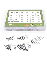 BULYZER Socket Round Screw M2 M3 M4 M5 304 Stainless Steel Bolts and Nuts Hex Round Cap Head Machine Screws and Washer Wrench ki