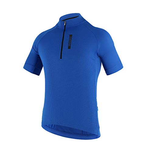 CATENA Men's Cycling Jersey Short Sleeve Shirt Running Top Moisture Wicking Workout Sports T-Shirt Blue, Medium