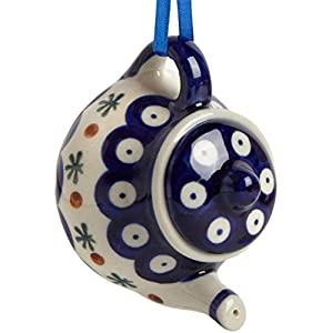 Polish Pottery Accented Peacock Blue Dot Teapot Handmade Ceramic Christmas Ornament, 3.25″Dia. x 2.5″H