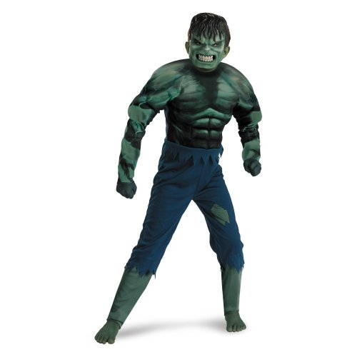 Incredible Hulk Movie Costumes (Hulk Classic Muscle Costume, Green, 7-8)