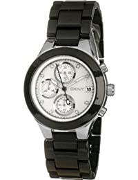 Dkny Women's NY8064 Black Plastic Quartz Watch with Mother-Of-Pearl Dial