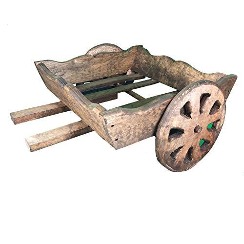 Carreta decorativa de madera tallada a mano