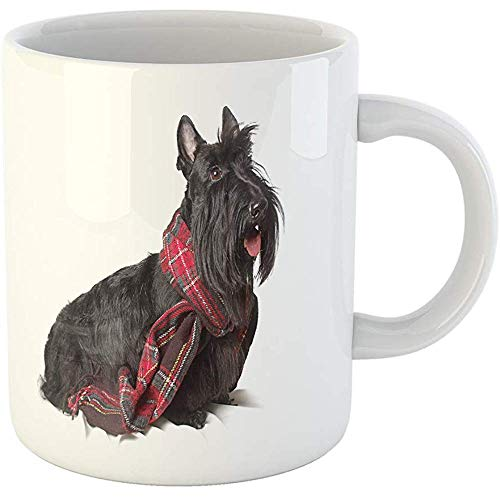 (Personalized 11 Ounces Funny Coffee Mug Dog Scottish Terrier in Red Scarf on Tartan Adorable Ceramic Coffee Mugs Tea Cup Souvenir)