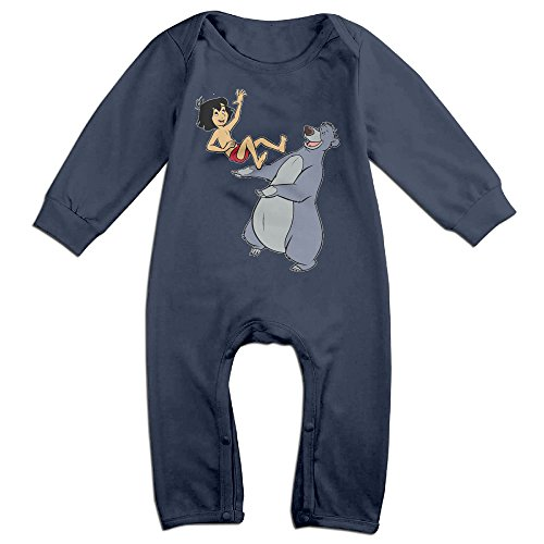 PCY Newborn Babys Boy's & Girl's Jungle Book Mowgli Baloo Play Long Sleeve Bodysuit Baby Onesie For 6-24 Months Navy Size 24 Months