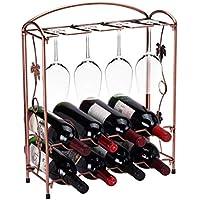 Sonmer Metal Bottle Rack Stand Glass Holder for Wine Storage Display