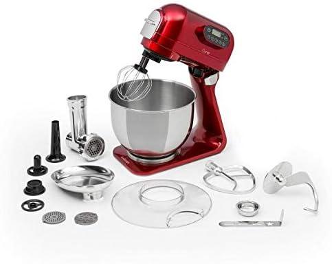 Klarstein Curve Plus robot de cocina - Mezcladora de 5 litros, Picadora de carne 4 en 1, Multifunción, Rotación planetaria, Aluminio, Accesorios, Rojo: Amazon.es: Hogar