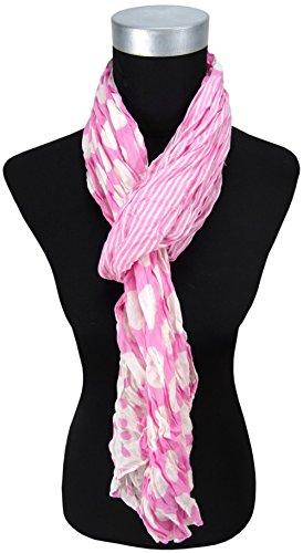 Echarpe plissés en rosé blanc-gris rayures pointilles - taille 180 x 50 cm