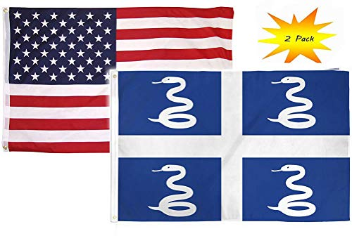 - ALBATROS 3 ft x 5 ft 3x5 Set (2 Pack) USA American with Martinique Country Flag Banner for Home and Parades, Official Party, All Weather Indoors Outdoors