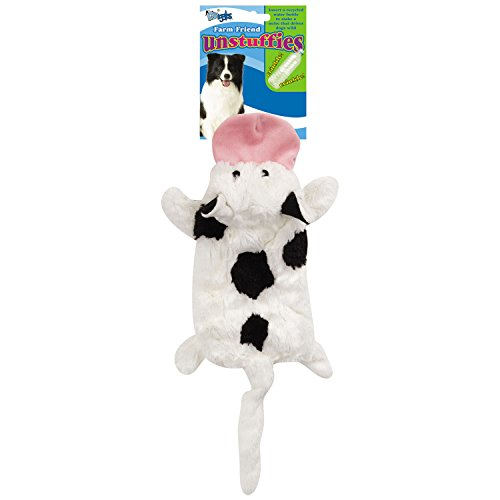 Grriggles US5460 14 14 Farm Friend Unstuffies Dog Squeak Toy, Small Cow