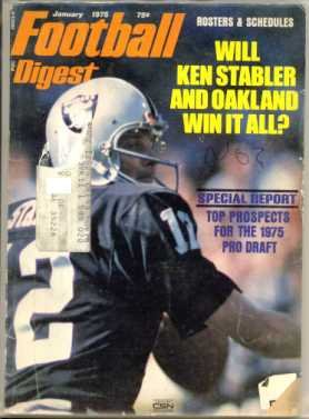 Pro Football Digest January 1975 NFL (Ken Stabler Oakland Raiders cover photo)