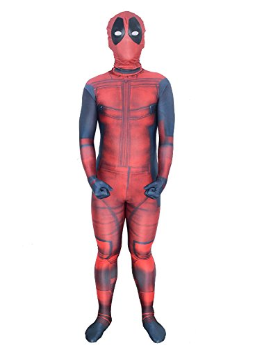 Marvel Deadpool Costume (Hoosen Unisex Lycra Zentai Halloween Cosplay Costumes Kids 3D Style, Red/Black, Medium)