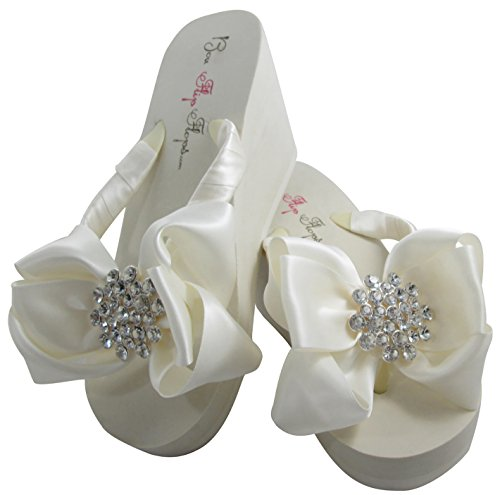 Bubbles Jeweled Satin Bow Bridal Flip Flops, Ivory or White, Wedge or Flat -