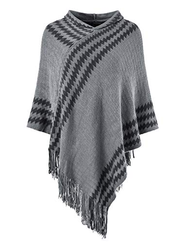 Ferand Women's Hooded Zigzag Striped Knit Cape Poncho Sweater with Fringes, One Size, Grey - Hooded Knit Poncho