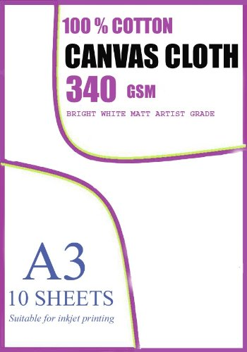 Superficie stampabile a getto d'inchiostro, 100% originale su tela di cotone 350 g/m², 10 fogli, formato A3 Madaboutink