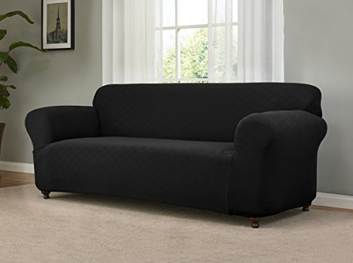 Madison Stretch Checkerboard Sofa, Black