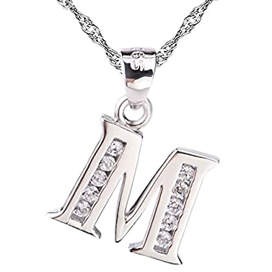 Sojewe Women 925 Sterling Silver Alphabet Letter J Necklace Inlay Cubic Zirconia Pendant Platinum Plated Chain 40-45cm/15.7-17.7in bpqSFi8fe