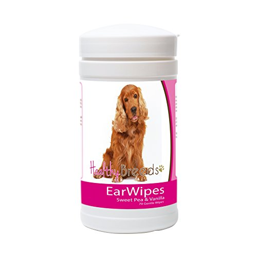 Cocker Spaniel Ears - Healthy Breeds Dog Ear Cleansing Wipes for Cocker Spaniel - Over 80 Breeds – Removes Dirt, Wax, Yeast – 70 count – Easier Than Drops, Wash, Solutions – Helps Prevent Infections and Mites