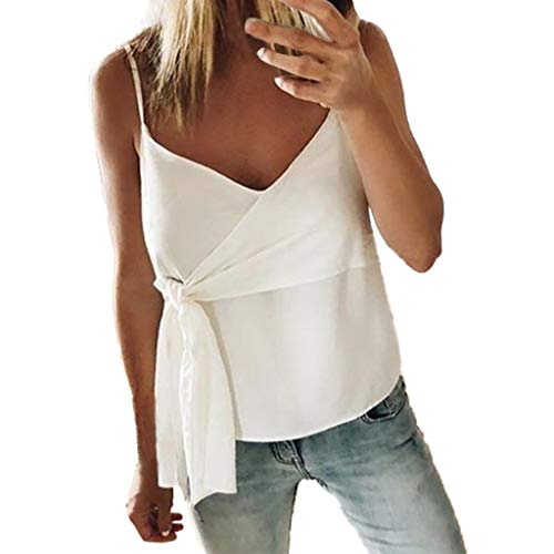 NCCIYAZ Womens Camisole Solid Waist Belted V-Neck Sexy Straps Vest Tank Ladies Party Beach Cami Top(XL(8-10),White) ()