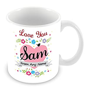 Personalised Mug with Name Sam - Love Heart & Flowers ...