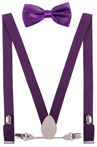 YJDS Kids Leather Suspenders and Bowtie Set Elastic for Wedding Purple 39''