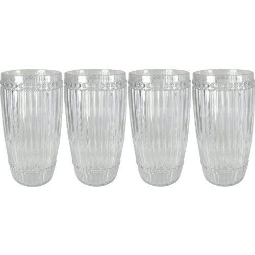Milano Glassware - Le Cadeaux Milano 4 Piece Highball Set Clear Shatter Proof Glassware