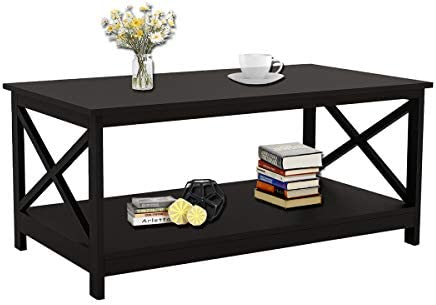 Cocktail Coffee Table RASOO Black Rectangle Modern X-Legs Table Desk with Storage Shelf for Living Room