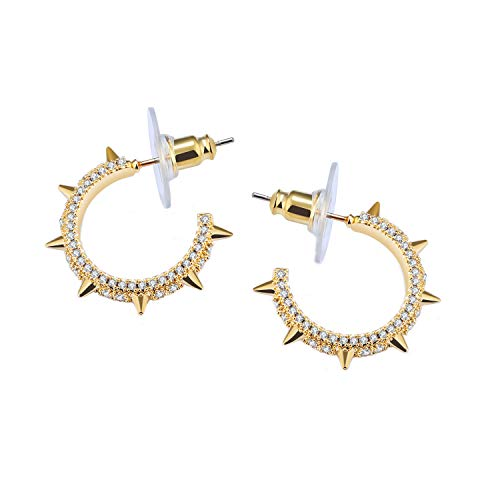 MiYuan Women Fashion Yellow Gold Plated Brass CZ Stud Hoop Earrings