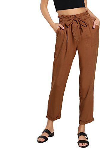 SweatyRocks Womens Elastic Belted High Waist Casual Loose Long Pants with Pocket