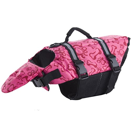 MALLOOM Pet Life Jacket Dog Adjustable Life Vest Preserver with Rescue Handle (XL, Pink)