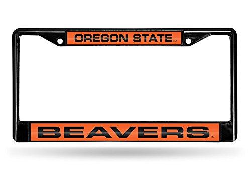 Rico Industries NCAA Oregon State Beavers Laser Cut Inlaid Standard Chrome License Plate Frame, 6