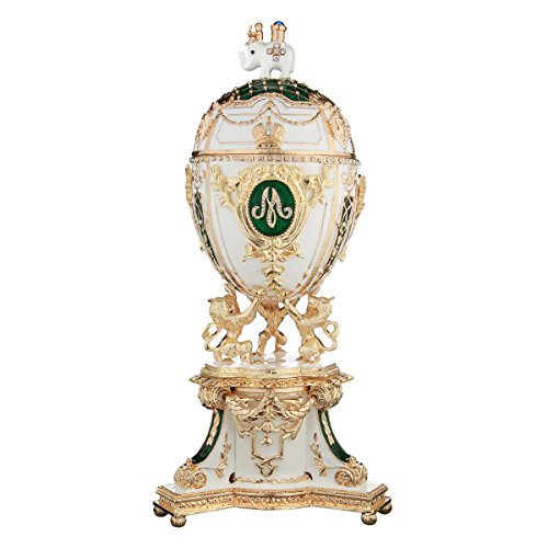 Russian Faberge Style Egg / Trinket Jewel Box / Music Box with Lions & Elephant green 9.5''