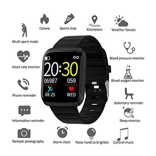 KONARRK Smart Watch Fitness Tracker,HD Color Screen 116 Smart Wristband Fitness Bracelet Blood Pressure Heart Rate Monitor