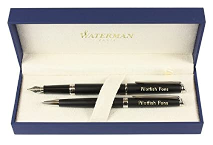 Waterman Hemisphere fuente y el bolígrafo negro mate personaliseitonline regalo grabado embellecedores cromados encajonado